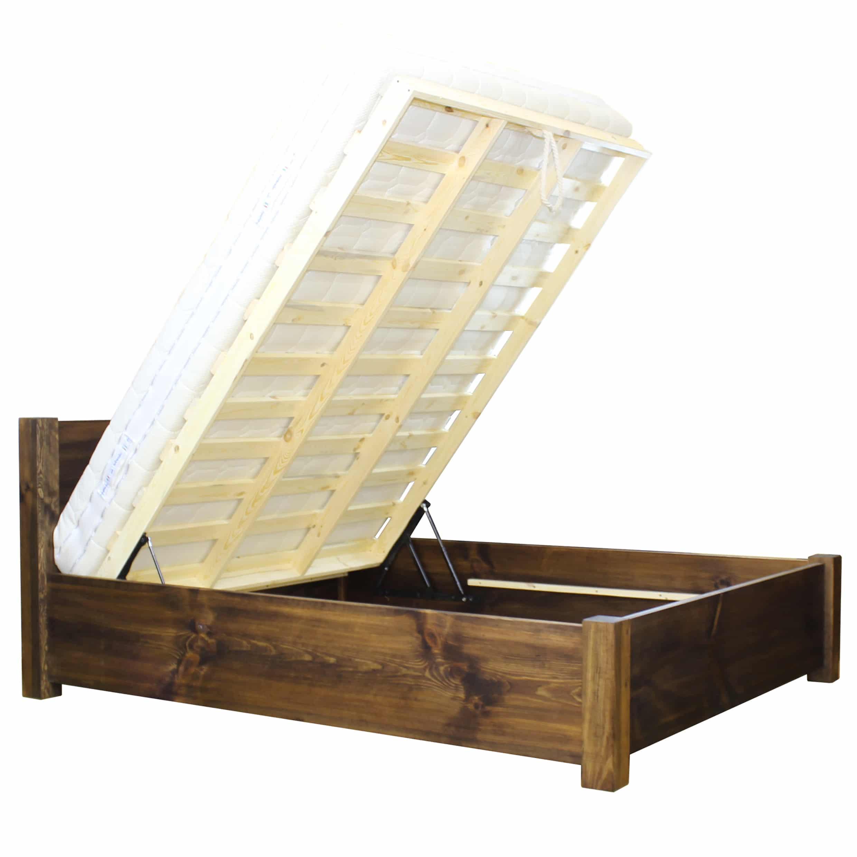lóżka z drewna ze skrzynią na pościel