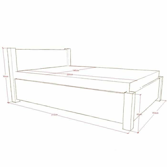 łóżko z naturalnego drewna z pojemnikiem