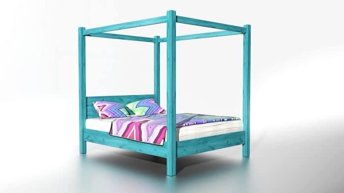 łóżko z drewna do sypialni